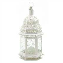 Medium White Metal Moroccan Candle Lantern - $11.47