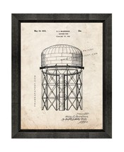 Elevated Water Tank Patent Print Old Look with Beveled Wood Frame - $24.95+
