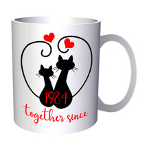 Cats We Love Together Since 1984 11oz Mug f204 - $203,52 MXN