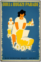 2676.Doll and buggy parade WPA Baby stroller Poster.Room design Decor Art. - $10.45+