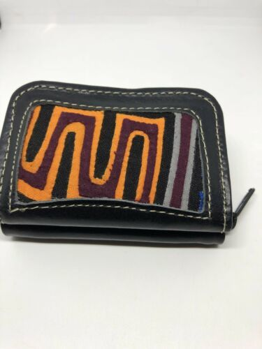 Primary image for New Hand Worked Black Leather Mini Billfold Check Wallet