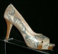 Via Spiga multi-colored snake print cross strap peep toe platform heels 7M - $35.17