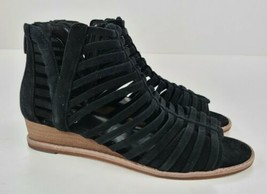 Vince Camuto Exposed Ankle Wedge Sandals Revey Black 7 WIDE - $37.62