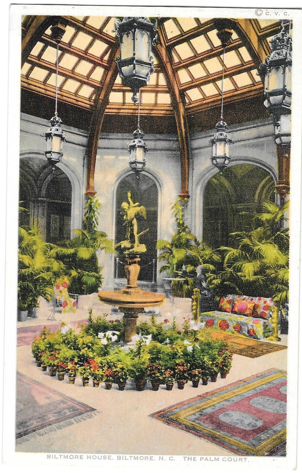 NC Biltmore House Palm Court Viintage Photostint North Carolina Postcard  - $4.99