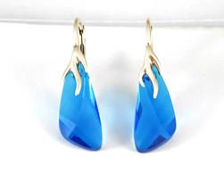 Silver Swarovski Earrings Blue Wings Crystal Jewelry Something Blue Brid... - $20.00