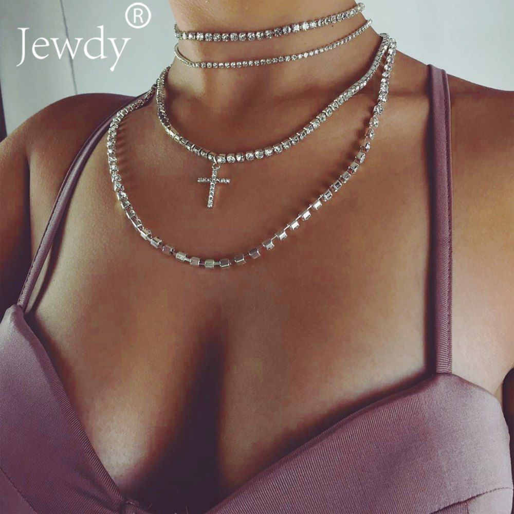 Jewdy® Luxury Rhinestone Cross Choker Crystal Necklace Multilayer Wedding