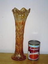 "VINTAGE MARIGOLD CARNIVAL GLASS STRETCH RIB SWUNG VASE 11.5"" PEACH IRRID... - $24.99"