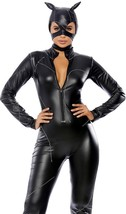 Claws Out Catwoman Costume Faux Leather Catsuit Stitching Ears Mask 557987 - $31.50
