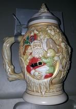 "1994 AVON Father Christmas Santa Stein Beer Mug 9 1/2"" BRAZIL Ceramarte - $33.27"