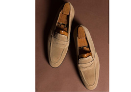 Handmade Men's Tan Suede Slip Ons Loafer Dress/Formal Shoes image 3