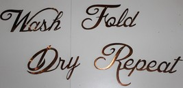 Metal Wall Art Decor WASH DRY FOLD REPEAT Copper/Bronze Plated - $29.69