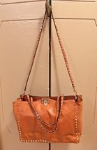 Authentic Valentino Caramel Leather Rockstud Trapeze Tote Bag - $1,016.50