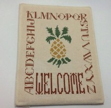 Vintage Needlepoint Completed Welcome Pineapple Alphabet 9 x 12 Padded B... - $17.41
