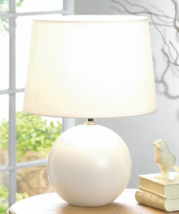 Small WHITE ROUND BASE Table Lamp w/ Fabric Shade - $29.97