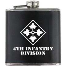 Army 4th Infantry Division Veteran Soldier Groomsman Gift Leather Wrapped Flask - $19.79