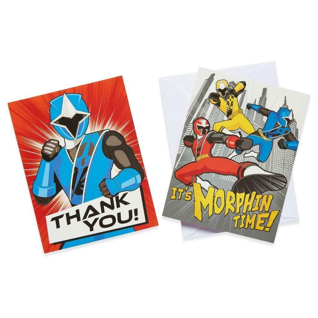 Power Rangers Ninja Steel Invitations and Thank You Postcards 8 Per Package NEW - $5.89