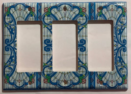 Stained blue glass art Light Switch Outlet Wall Cover Plate Home Decor image 8