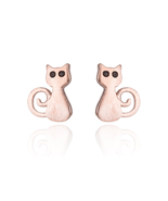 5 pairs of Cat Rose Gold Plated Stud Earring Stud (NED209B) - $12.50