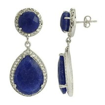 925 Sterling Silver Dyed Sapphire Dangle Drop Halo Cluster Earring - $49.67