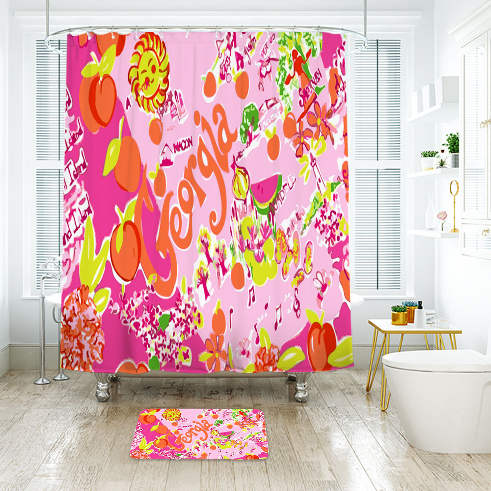 Flower Lilly Georgia Shower Curtain Waterproof & Bath Mat For Bathroom