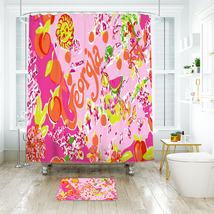 Flower Lilly Georgia Shower Curtain Waterproof & Bath Mat For Bathroom - $15.30+