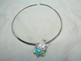 Sterling Inlaid Turtle Pendant Pin & Rigid Necklace Southwest - $49.99