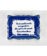 Godinger Blue & White Trinket Tray, God Made Grandmothers Porcelain Pin ... - $9.80