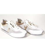 Michael Kors Maggie Optic White Gold Mesh Trainer Fashion Sneakers Shoes... - $63.99