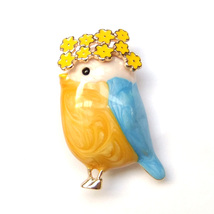 Brooch Cute Bird Blue Yellow Flower Garland Fairytale Fantasy Pin Lovely Gift - $8.99