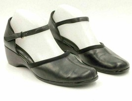 Easy Spirit Women Ankle Strap Wedge Heels Size US 8.5M Black Leather - $18.50