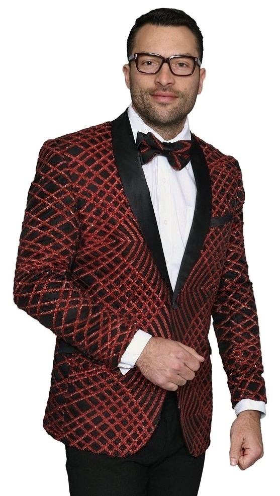 Primary image for Men Insomnia Manzini Blazer Shiny Sequin Stage Performer Singer MZE113 red