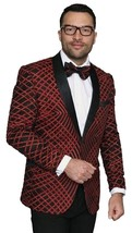 Men Insomnia Manzini Blazer Shiny Sequin Stage Performer Singer MZE113 red - $105.00