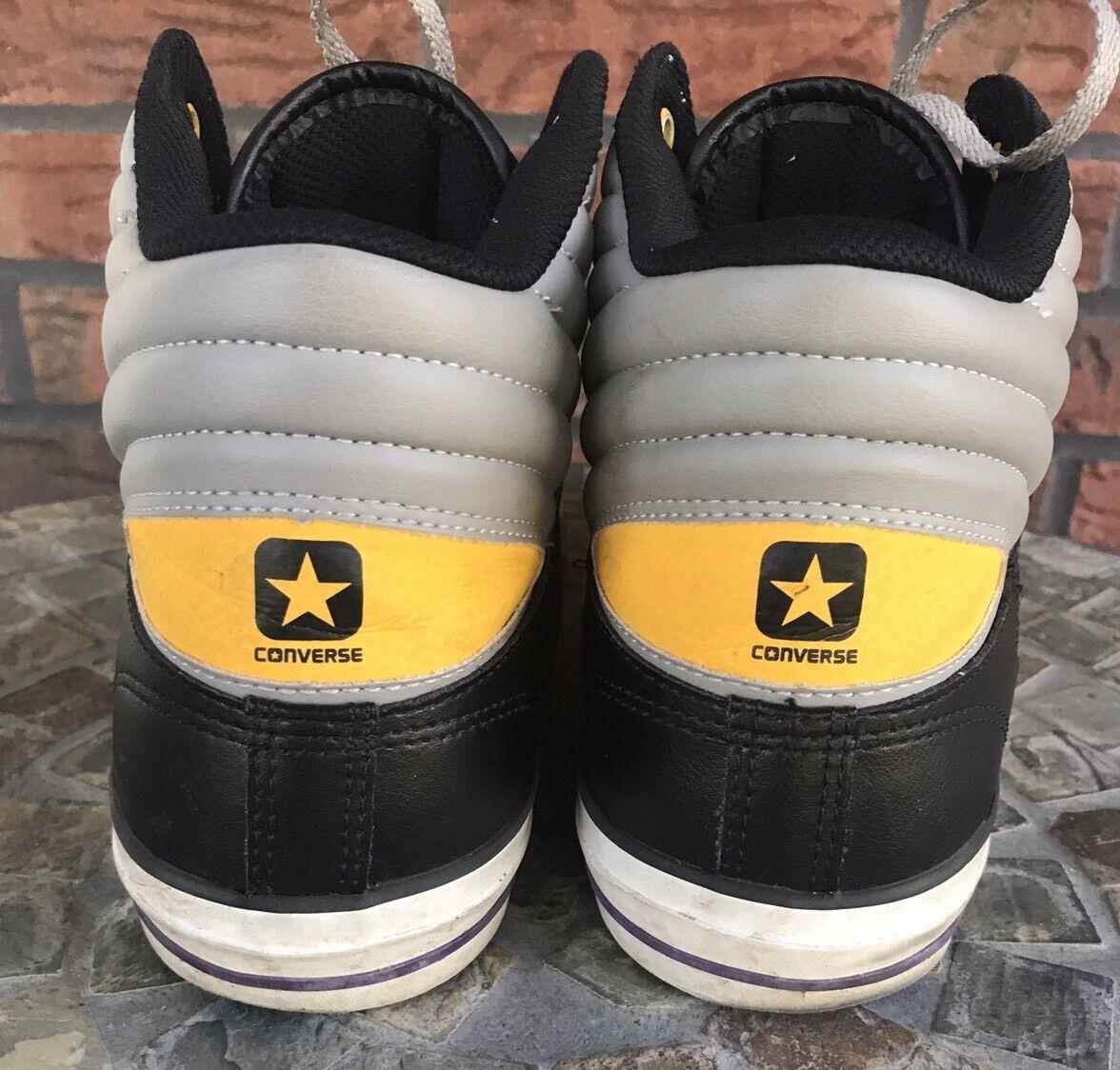 Cons Converse Men Sz 10 Women Sz 12 High Top Shoes Black Gray Yellow Tennis Shoe image 4