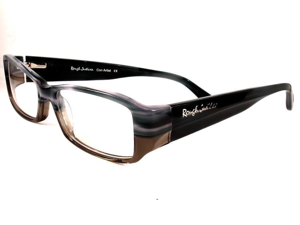 Rough Justice Eyeglasses Con Artist Blue Wood Women New 50-15-135