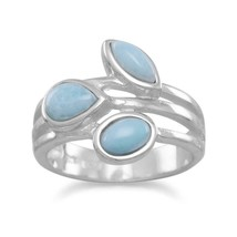 .925 Sterling Silver Multishape Larimar Women's Ring - $103.66
