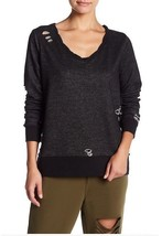 Romeo + Juliet Couture Women's Pullover Distressed with Bow Black Small ... - $17.46