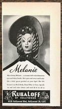 1944 RubaLoff of Hollywood Holiday Print Ad Melanie Ceramic Lapel Pin - $7.64