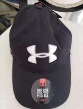 UNDER ARMOUR LOGO MEN'S BLACK BALL CAP GOLF HAT HEATGEAR OSFA MSRP $22 NWT - $23.75