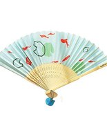 Gentle Meow Bamboo Handheld Summer Easy To Carry Folding Hand Fan (Pond And Fish - £8.09 GBP