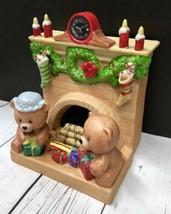 Enesco Christmas Fireplace Porcelain Figurine Music Box W/ Teddy Bears~Clock - $62.49