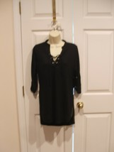 NWT ORG. $ 30  ALMOST FAMOUS BLACK 3/4  SLEEVE TUNIC  TOP  MEDIUM - $21.77