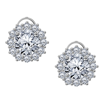 1.60 Ct White Diamond 925 Silver Screw Back Halo Stud Earrings 14k White... - $47.74