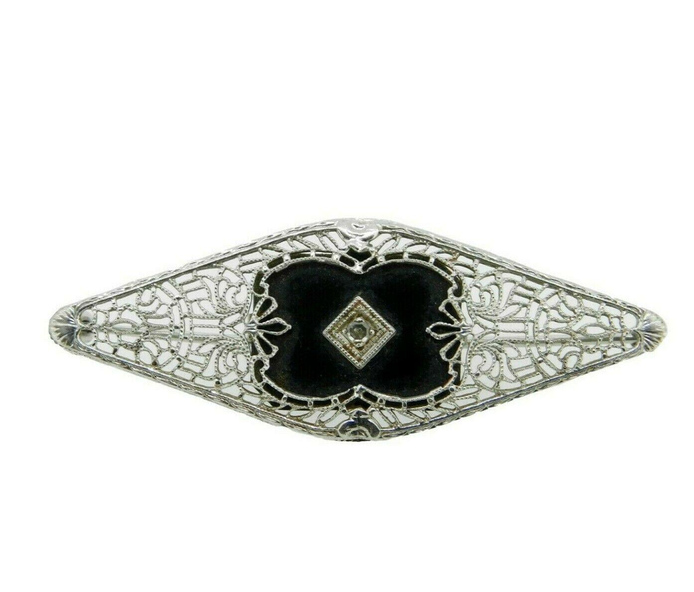 10k White Gold Filigree Genuine Natural Onyx and Diamond Pin (#J4661) - $255.00