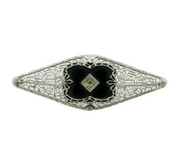 10k White Gold Filigree Genuine Natural Onyx and Diamond Pin (#J4661) - £194.75 GBP