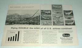 1967 Beechcraft Airplane Ad - Flying Double the Miles - $14.99