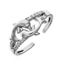 Womens Girls Cute Toe Ring with Two Dolphins in Sterling Silver Quality Jewelry - $21.78