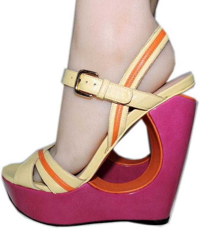 Stuart Weitzman Cut Out Pink Wedge Sandals Color Block Slingback Shoes 10