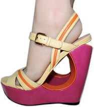 Stuart Weitzman Cut Out Pink Wedge Sandals Color Block Slingback Shoes 10 image 1