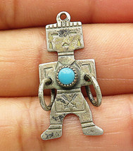 SOUTHWESTERN 925 Silver - Vintage Turquoise Traditional Figure Pendant - P5939 - $19.92