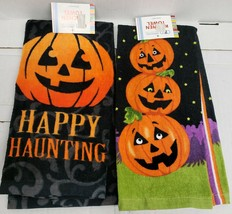SET OF 2 DIFFERENT PRINTED KITCHEN TERRY TOWELS, HALLOWEEN, SMILING PUMP... - $12.86